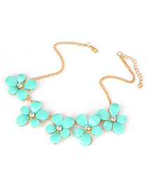 Fall Light Blue Five Leave Flower Alloy Korean Necklaces