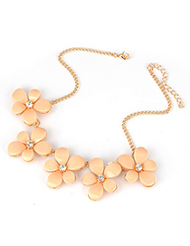 Glossy apricot Five Leave Flower Alloy Korean Necklaces