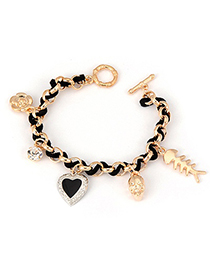 Sling Black Flower Skull Pattern Alloy Fashion Anklets