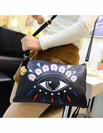 Fresh Black Big Eye Pattern Printed Design PU Shoulder bags