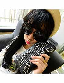 Fishing Black Rivets Decorated Design PU Handbags