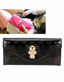 Discount Black Skull Decorated Simple Design PU Handbags