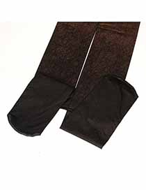 Native Coffee Gradient Disorderly Lines Design Velvet Fashion Stockings