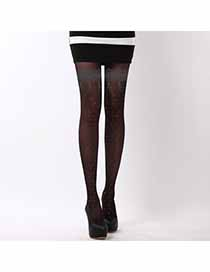 Infant Black Thin Lace Flower Design Velvet Tattoo Stockings