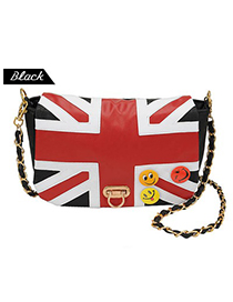 Invicta Black National Flag Pattern Design Pu Leather Shoulder bags
