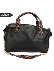 Varsity Black Leopard Pattern Charm Pu Leather Shoulder bags