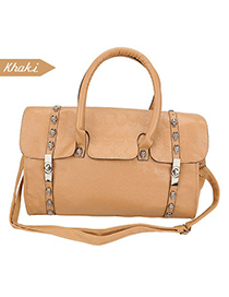 Fishing Khaki Metal Buckle Design Pu Leather Shoulder bags