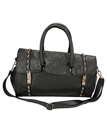 University Black Metal Buckle Design Pu Leather Shoulder bags