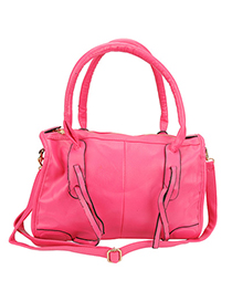 Misses Rose Red Hand Woven Design Pu Leather Shoulder bags