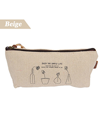 Ruffled Beige Countryside Style Design Canvas Pencil Case Paper Bags