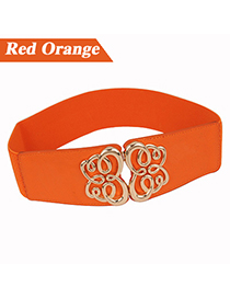 Fashion Orange Butterfly Buckle Elastic Pu Leather Wide belts