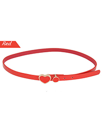 Turquoise Red Candy Color Heart Shape Buckle Pu Leather Thin belts
