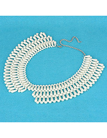 Native White Three Rows  Pearl Weave Design Pearl Korean Necklaces