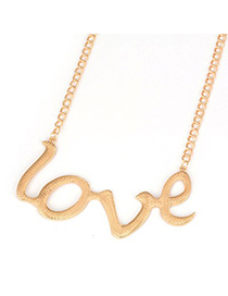 Noble Gold Color Love Letters Pendant Alloy Korean Necklaces
