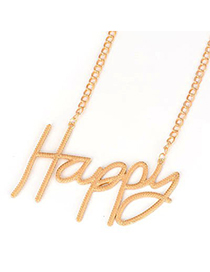 Cubic Gold Color Happy Letters Pendant Alloy Korean Necklaces