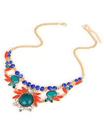 Hanging Green Gemstone Flower Design Alloy Korean Necklaces