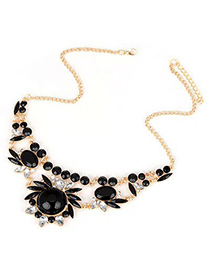Expression Black Gemstone Flower Design Alloy Korean Necklaces