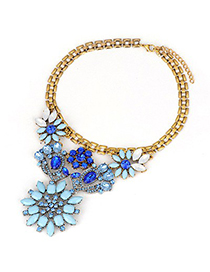 Players Blue Gemstone Flower Design Alloy Korean Necklaces