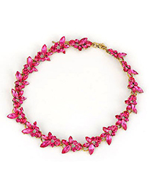 Bendable Plum Red Flower Temperament Short Alloy Korean Necklaces