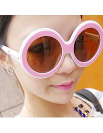 Magic Pink Double Color Simple Design Plastic Sunglasses