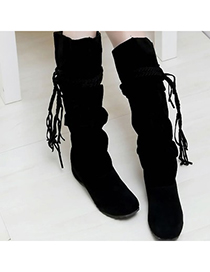Sanctuary Black Tassels Decorated Design Dull Polish Velvet Boots