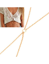 Vintage Gold Color Pure Color Decorated Simple Long Chain Choker