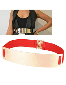 Boutique Red Mirror Surface Wide Design Alloy Wide belts