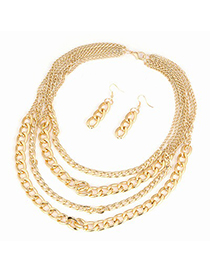 Personality Gold Color Cheetah Pendant Decorate Long Chain Simple Jewelry Sets