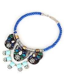 Inspiratio Blue Irregular Shape Pendant Design Braided Rope Fashion Necklaces