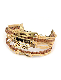 Fashionabl Antique Copper Several Letters Decorated Multilayer Design Alloy Korean Fashion Bracelet
