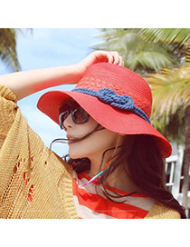 Trending Black Bowknot Decorated Large Brim Lenses Design(rondom Color Straps)  Fabric Sun Hats