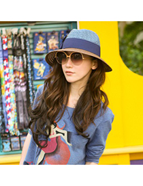 Trendy Black Pure Color Decorated Sun Hat