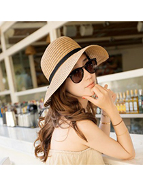 Trendy Khaki Bowknot Decorated Pure Color Anti-ultraviolet Hat