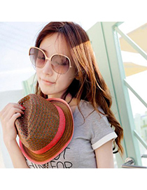 Trendy Light Coffee Hollow Out Two Colors Simple Design Straw Fashion Hats