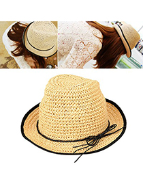 Alternativ Apricot Hollow Out Bowknot Decorated Design Straw Fashion Hats