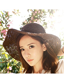 Fair Dark Coffee Big Eaves Simple Design Straw Fashion Hats