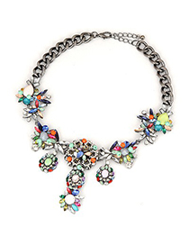 Varsity Multicolor Cute Flower Gemstone Pendant Design Alloy Fashion Necklaces
