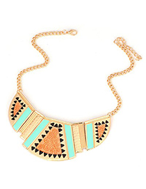 Rave Gold Color Enamel Geometric Shape Pendant Design Alloy Korean Necklaces