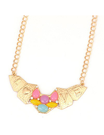 Folding Yellow Irregular Shape Love Symbol Design Alloy Korean Necklaces