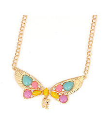 Active Multicolor Gemstone Decorated Butterfly Shape Design Alloy Korean Necklaces