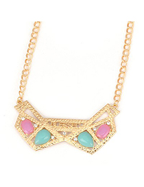 Affinity Gold Color Hollow Out Geometric Shape Design Alloy Korean Necklaces