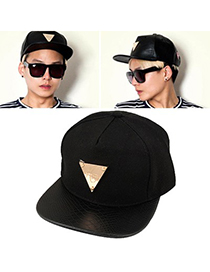 Metallic Black Hater Metal Triangle Decorated Design Canvas Fashion Hats