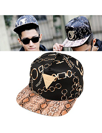 Hiking Black Chain Pattern Design Canvas Fashion Hats