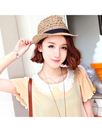 Fashoin Beige Bowknot Decorated Short Eaves Design Straw Sun Hats