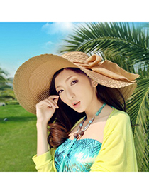 Elegant Beige Bowknot Decorated Pure Color Sunshade Beach Hat