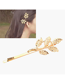 Fashion Silver Color Leaf Shape Design Pure Color Hairpin