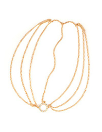 Elegant Gold Color Hollow Out Gemstone Decorated Chain Design Alloy Hair band hair hoop