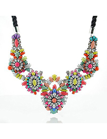 Winter Multicolor Flower Shape Gemstone Decorated Design Alloy Bib Necklaces