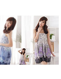 Beige Purple Flower Pattern Fit Slim Dress Chiffon Long Dress