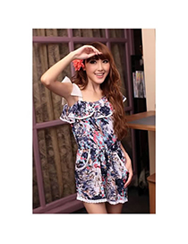 Trendy Dark Blue Geometric Pattern Decorated Long Sleeve Losse Short Dress